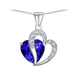 Jewelry Anniversary Gifts:Star K Heart Shape Stone Pendant Chain