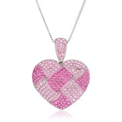 Gifts Under $100:Pink Quilted Heart Necklace