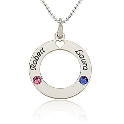 Jewelry Birthday Gifts for Girlfriend (Under $50):Circle Of Love Personalized Necklace