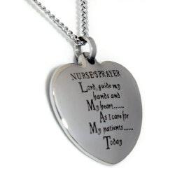 Gifts for Women Under $25:Nurses Prayer Heart Shaped Pendant