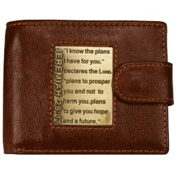 Gifts for Son:Leather Wallet W/Brass Bible Scripture