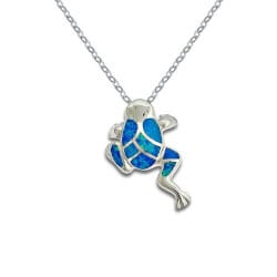 Jewelry Gifts for Girlfriend:Blue Opal Frog Pendant