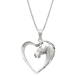 Jewelry Anniversary Gifts:Horse In Heart Necklace Pendant