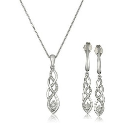 Anniversary Gifts Under $200:Diamond Twist Earrings And Necklace