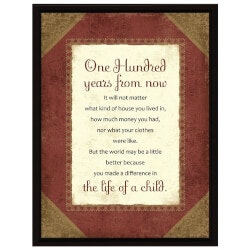 Gifts for Women:One Hundred Years From Now Plaque