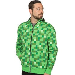 Gifts for 16 Year Old Son:Minecraft Creeper Zip-Up Hoodie