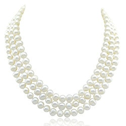Gifts for Wife Over $200:3-Row Pearl Necklace
