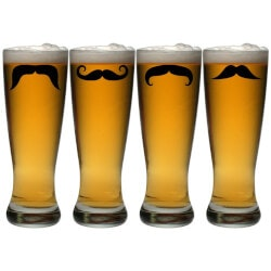 Funny Birthday Gifts for Boyfriend:Moustaches Grand Pilsner Glass