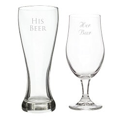 Funny Birthday Gifts for Boyfriend:His Beer/Her Beer Pilsner Set