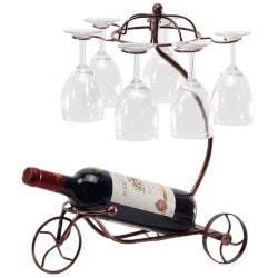 Wine Christmas Gifts for Women:Vintage Tricycle Wine Bottle & Glass Holder