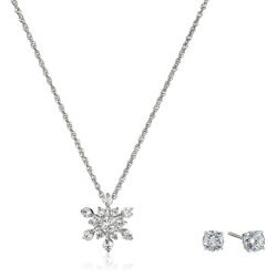 Jewelry Birthday Gifts for Girlfriend (Under $50):Snowflake Necklace And Earrings Set