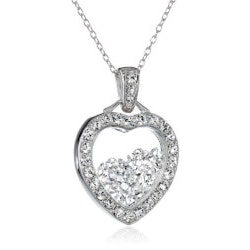5th Anniversary Gifts Under $25:Floating Crystal Heart Pendant