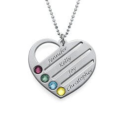 Birthstone Heart Necklace For Mom