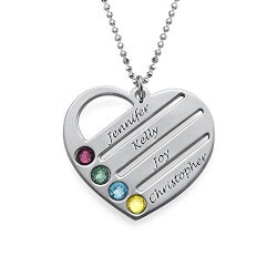 Personalized Jewelry Christmas Gifts for Women:Birthstone Heart Necklace For Mom