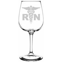 Gifts for Women Under $25:Registered Nurse Wine Glass