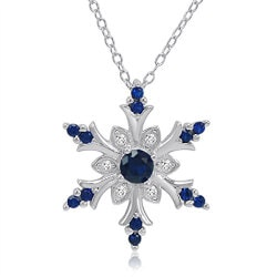 Jewelry Gifts for Girlfriend:Sapphire Snowflake Pendant