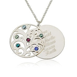 Personalized Jewelry Christmas Gifts for Women:Personalized Birthstones Family Necklace