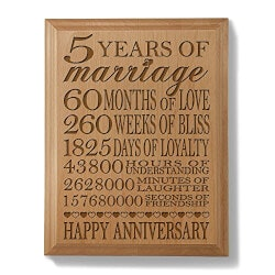 5th Anniversary Wooden Plaque