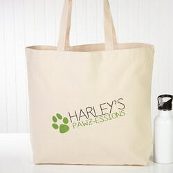 Personalized Dog Canvas Tote Bag - Large