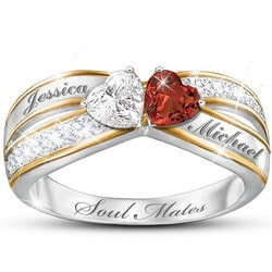 Anniversary Gifts for Girlfriend:Two Hearts Become Soul Mates Topaz & Garnet..