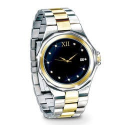 Timeless Love Engraved Diamond Mens Watch