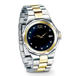 Gifts for Son:Timeless Love Engraved Diamond Mens Watch