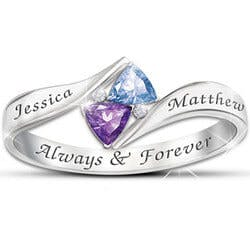Loves Promise Engraved Birthstone Ring