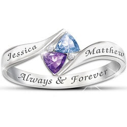 Personalized Jewelry Christmas Gifts for Women:Engraved Birthstone Ring