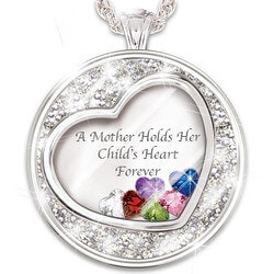 Christmas Gifts for Mom Under $100:Mother Holds Her Childs Heart Birthstone..