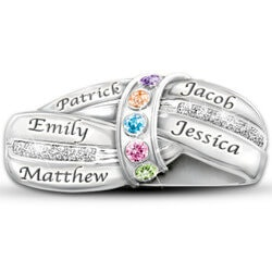 Personalized Jewelry Christmas Gifts for Women:Mothers Embrace Birthstone Ring