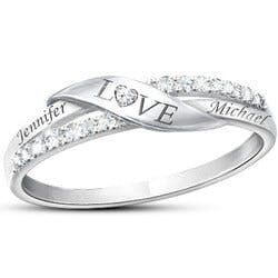 Romantic Personalized 11-Diamond Engraved Ring
