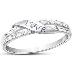 Anniversary Gifts for Girlfriend:Romantic Personalized 11-Diamond Engraved Ring