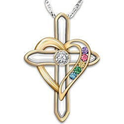 Gifts for Mom:Cross Necklace With Family Birthstones