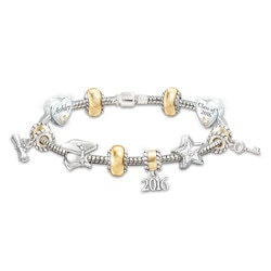 High School Graduation Gifts:Personalized 10-Charm Bracelet With Crystals..