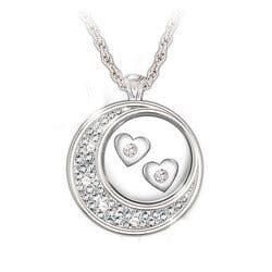 Floating Diamond Hearts Sterling Silver..