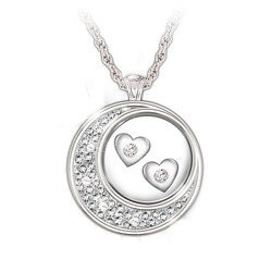 Valentines Day Gifts for Wife:Floating Diamond Hearts Pendant