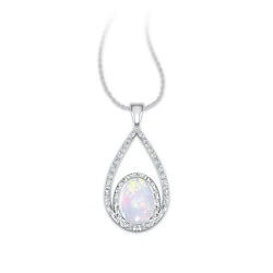 Valentines Day Gifts for Wife:Opal And Diamond Pendant
