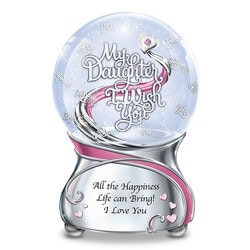 Gifts for 17 Year Old Daughter:My Daughter, I Wish You Musical Glitter Globe