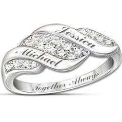 Cascade Of Love Diamond Ring With Engraved..