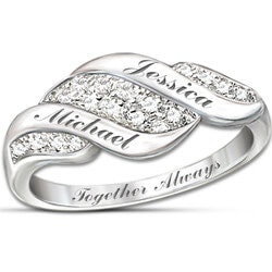 Anniversary Gifts for Girlfriend:Cascade Of Love Diamond Ring With Engraved..