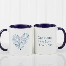 Gifts Under $10:Blue Personalized Coffee Mugs - Heart Of Love
