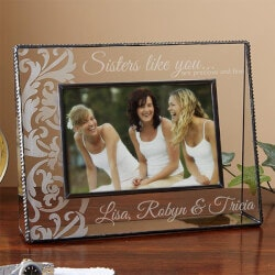 Gifts for Sister:Personalized Glass Picture Frames - Sisters..