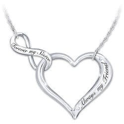My Sister, My Friend Engraved Heart Necklace..
