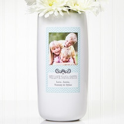 Birthday Gifts for Grandmother:Personalized Photo Vase - Chevron Class