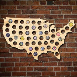 Beer Cap Map Of USA, Medium