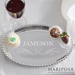 Personalized Oval Serving Tray - Mariposa..
