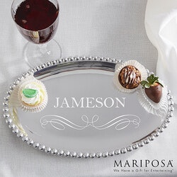 Wedding Gifts:Personalized Oval Serving Tray - Mariposa..