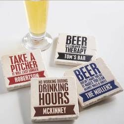 Personalized Christmas Gifts for Husband:Personalized Tumbled Stone Coasters - Beer..