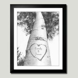 Personalized Framed Art- Love Birch Tree