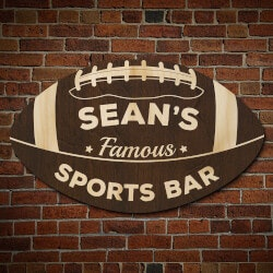 Gifts for Father In LawUnder $100:Football Fan Personalized Sports Bar Sign..